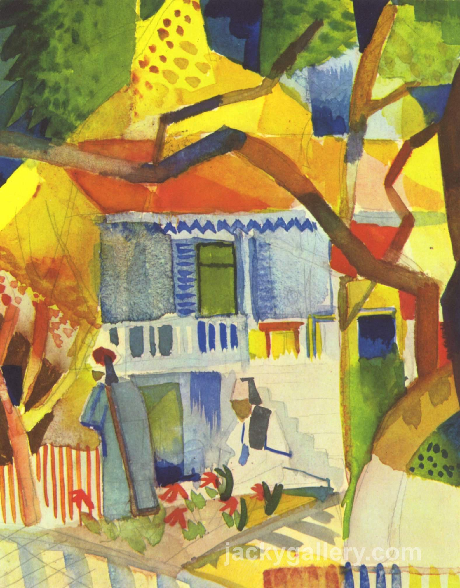 Inner courtyard of house in St. Germain, August Macke painting