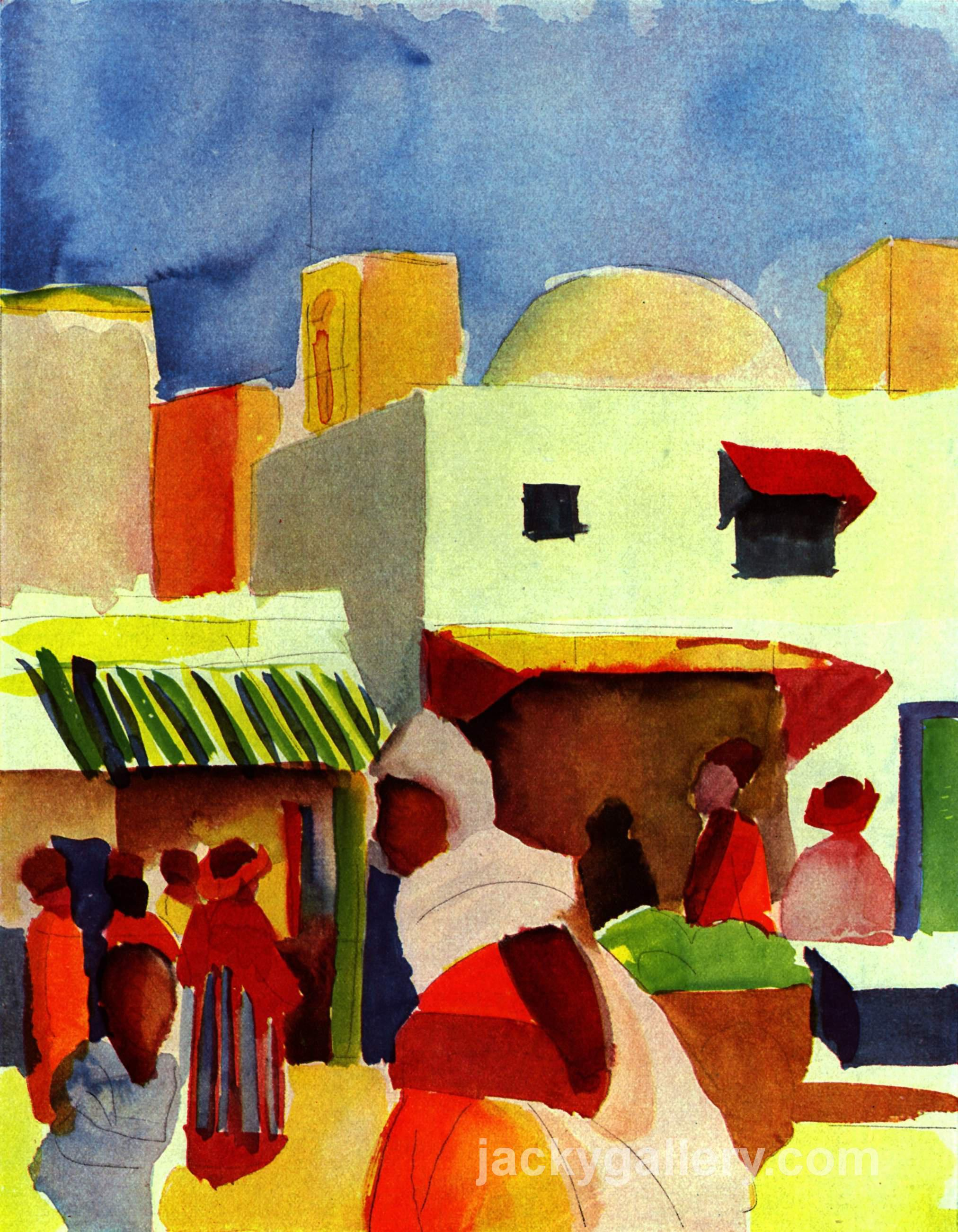 Market in Algiers, August Macke painting