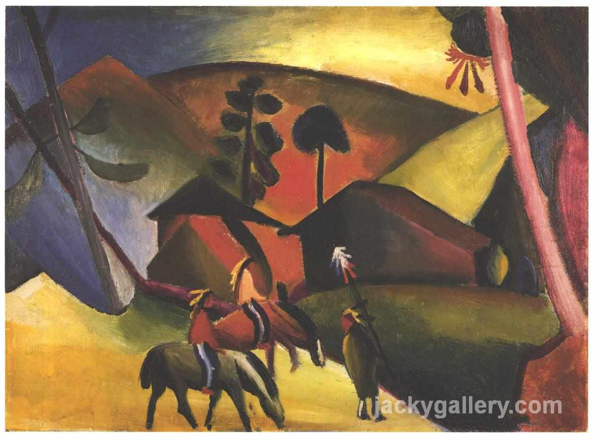Native Aericans on horses, August Macke painting