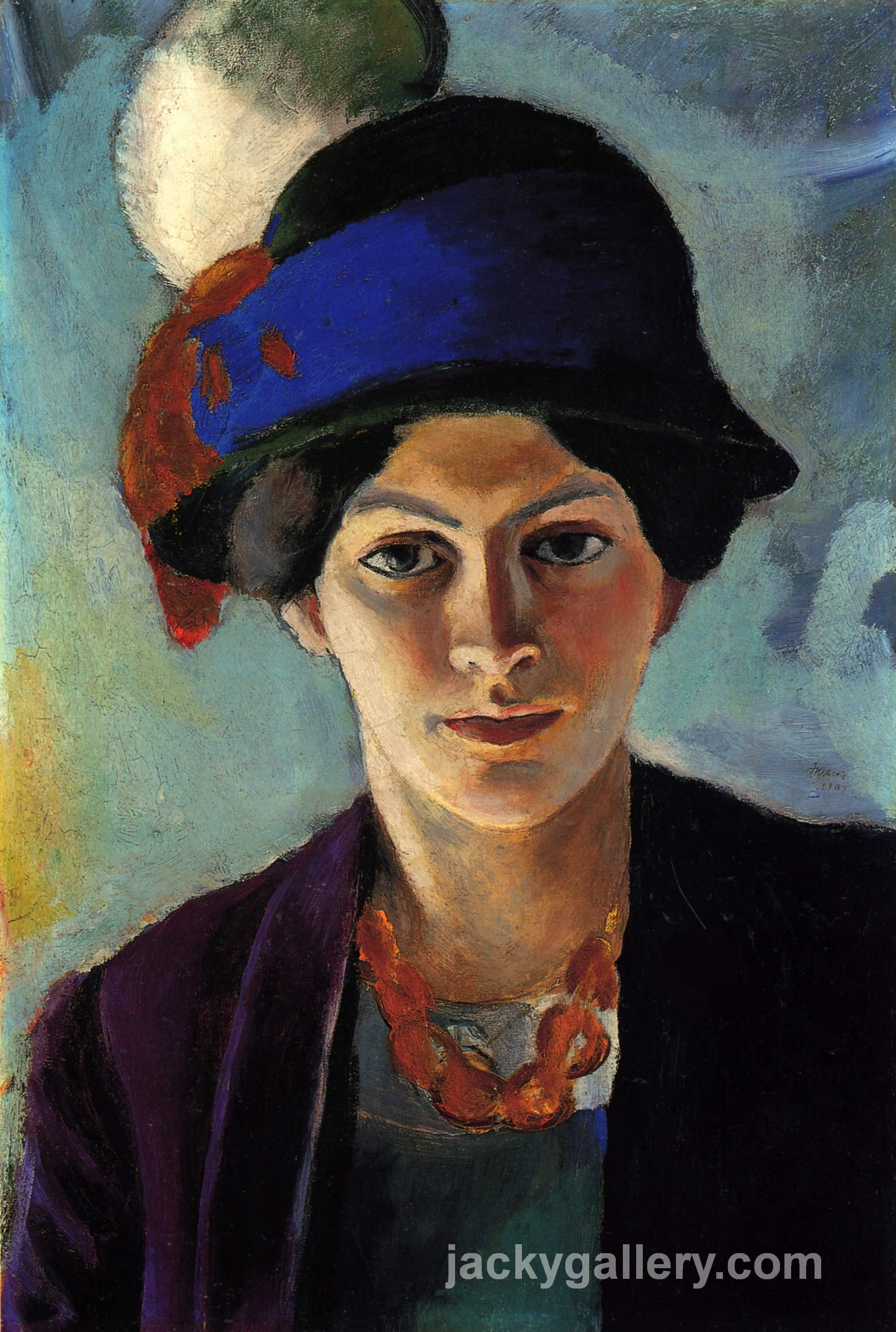 Portrait of the artists wife with a hat, August Macke painting