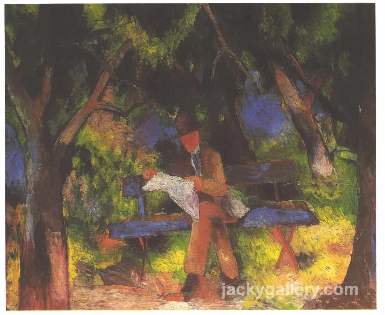 Reading man in park, August Macke painting