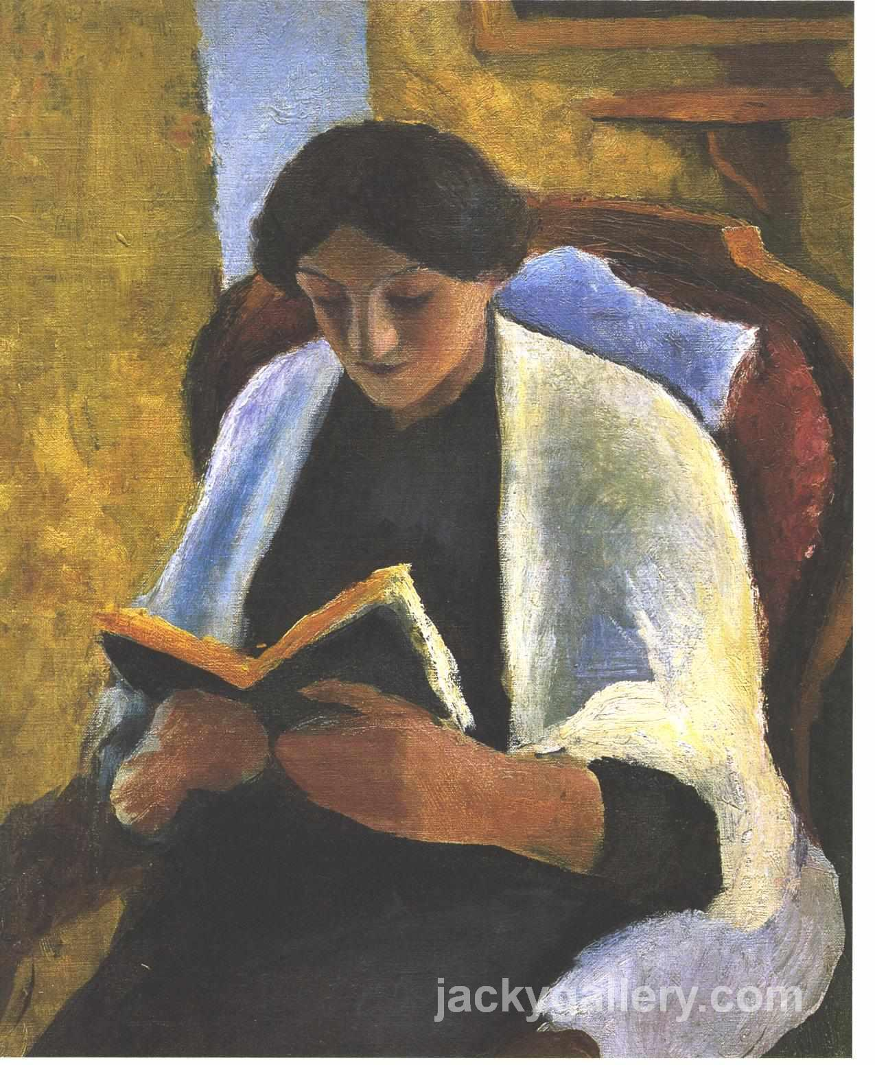 Reading woman, August Macke painting