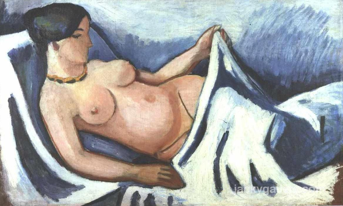 Reclining female nude, August Macke painting