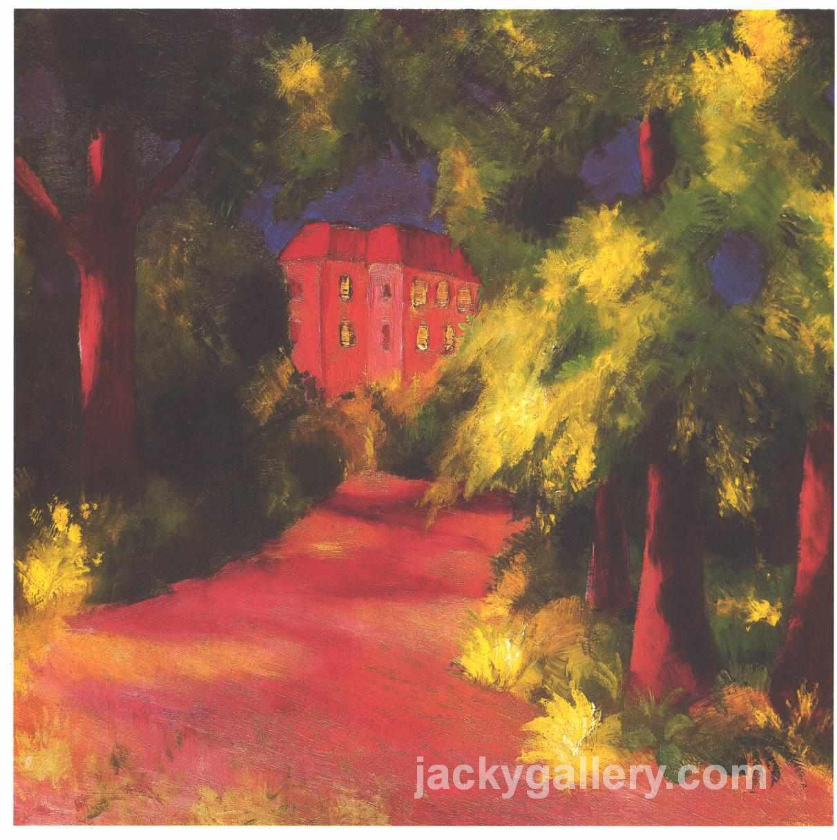 Red house in park, August Macke painting