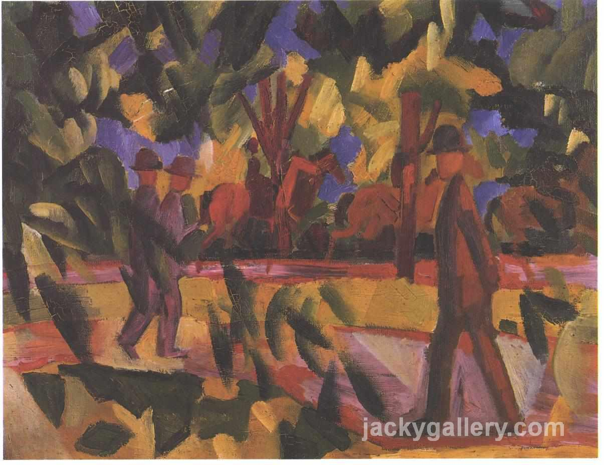 Riders and walkers at a parkway, August Macke painting