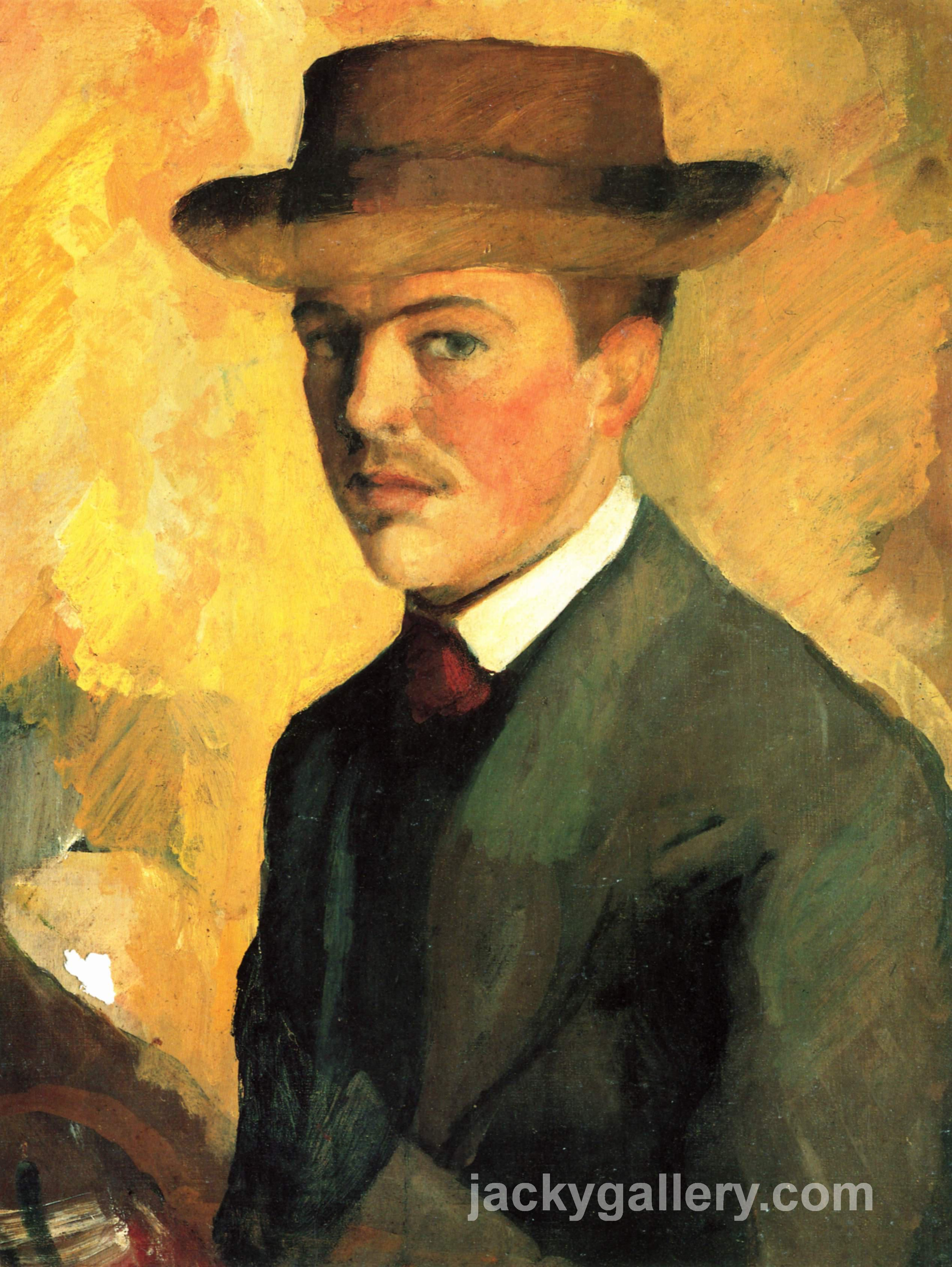 Self-Portrait with Hat, August Macke painting