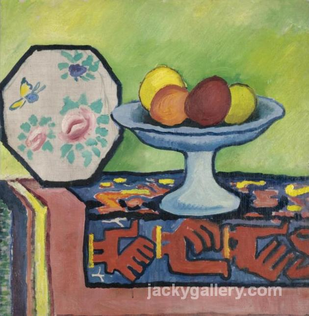 Still life with bowl of apples and Japanese fan, August Macke painting