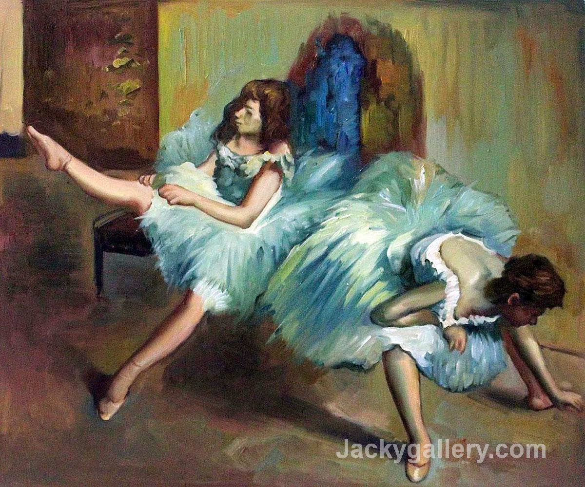 Before the Ballet (detail) by Edgar Degas paintings reproduction