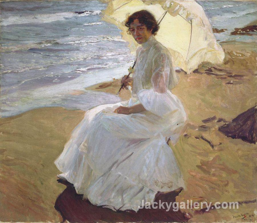 Clotilde at the beach by Joaquin Sorolla y Bastida paintings reproduction
