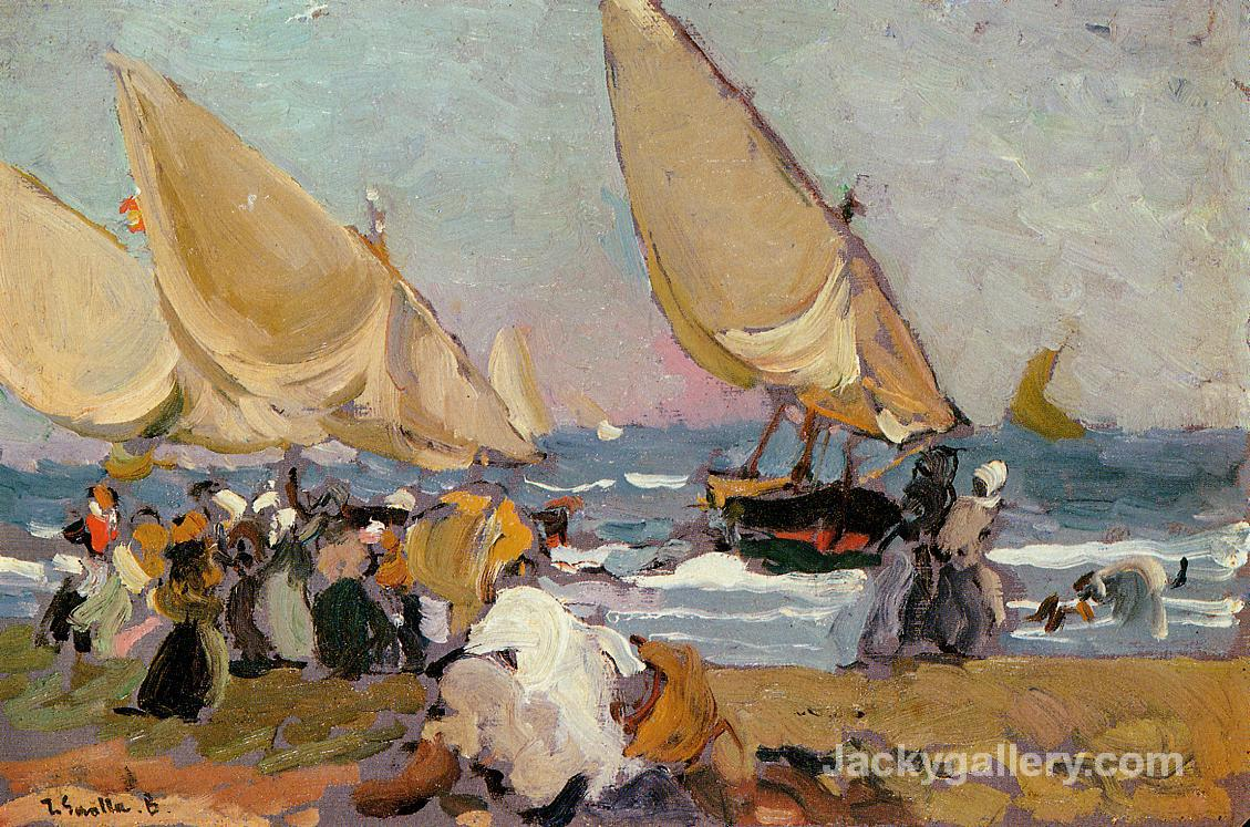 Sailing Vessels on a Breezy Day, Valencia by Joaquin Sorolla y Bastida paintings reproduction
