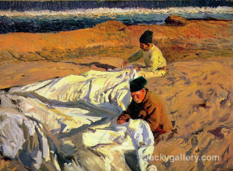 Sewing the Sail by Joaquin Sorolla y Bastida paintings reproduction