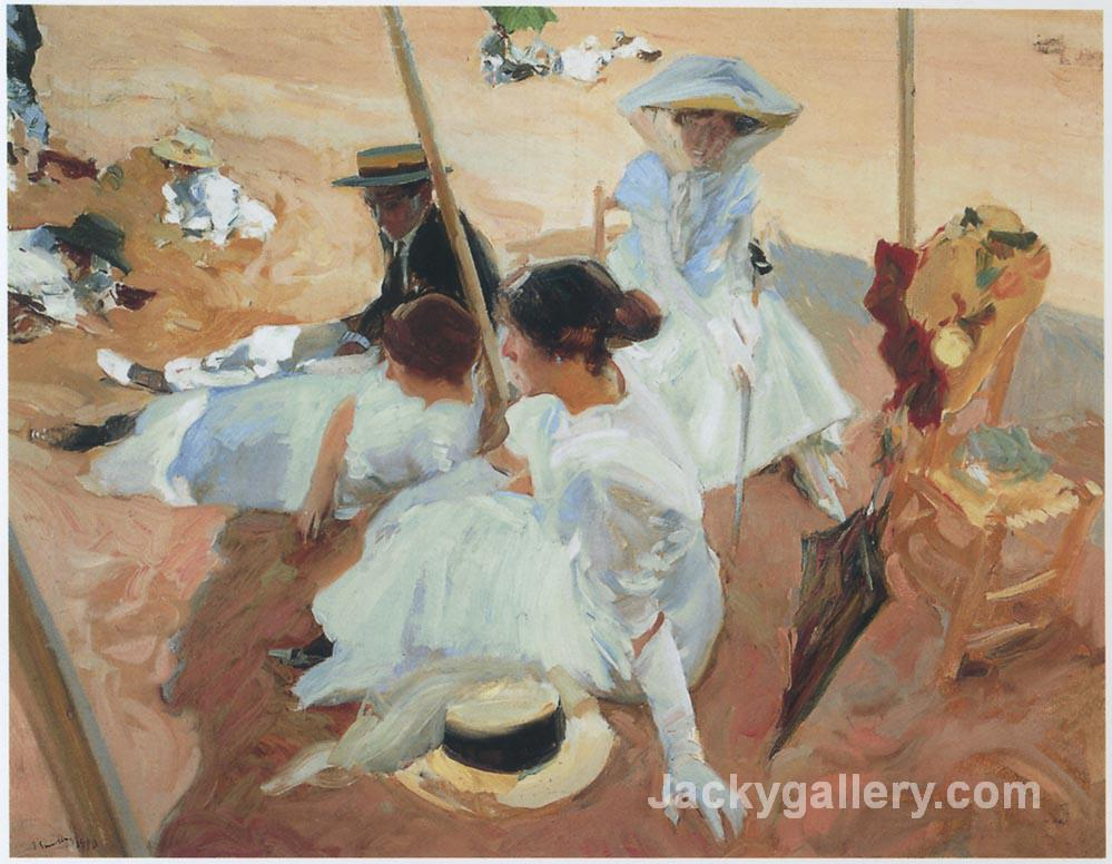 Under the sawning at Zarauz beach by Joaquin Sorolla y Bastida paintings reproduction