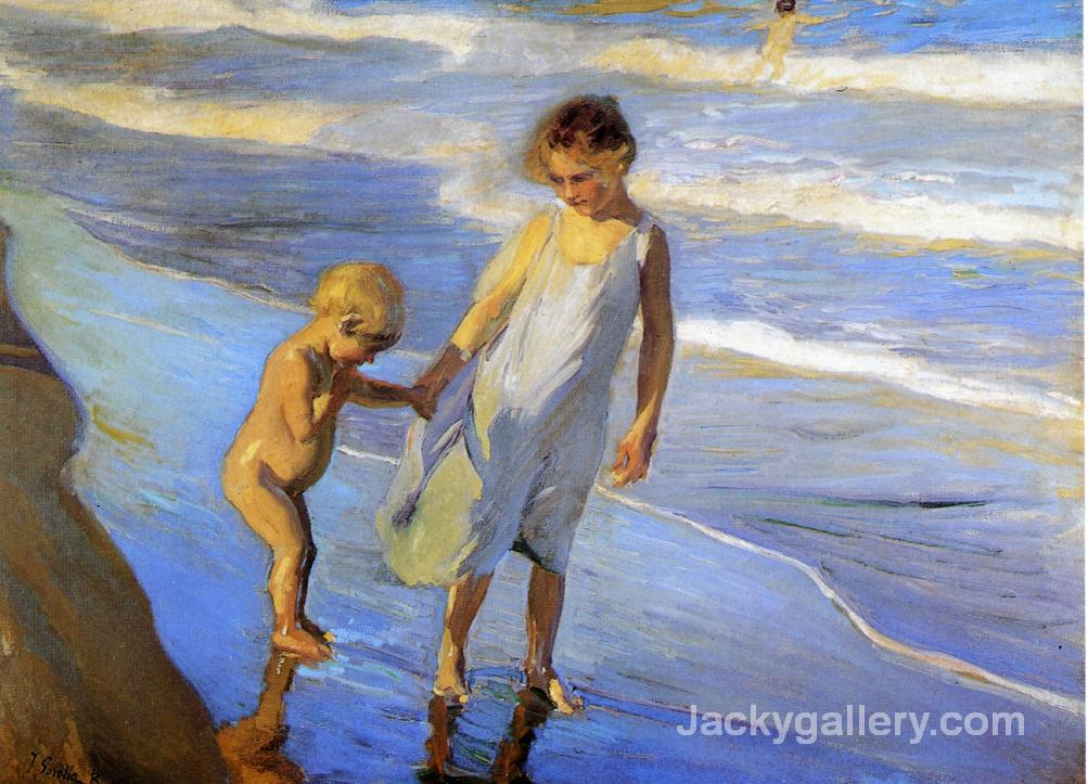 Valencia, Two LIttle Girls on a Beach by Joaquin Sorolla y Bastida paintings reproduction