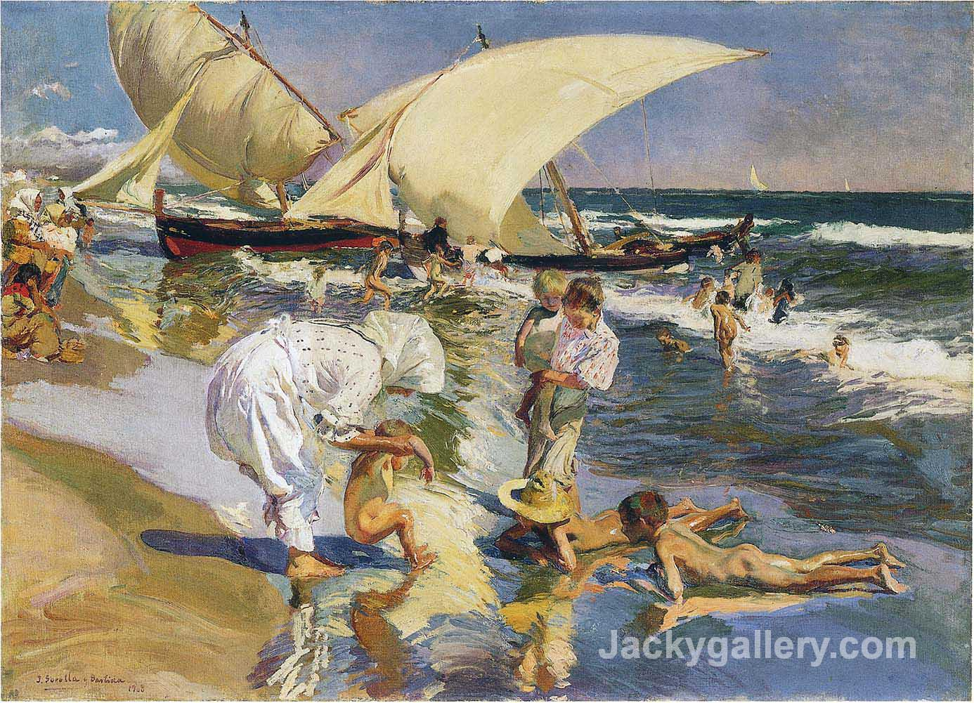 Valencia beach in the morning light by Joaquin Sorolla y Bastida paintings reproduction