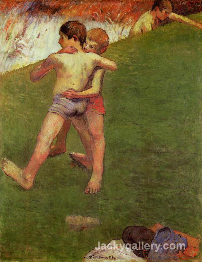 Breton Boys Wrestling by Paul Gauguin paintings reproduction