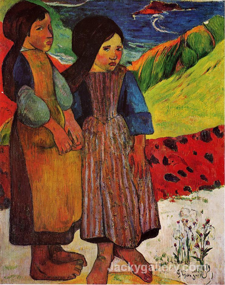 Breton Girls by the Sea by Paul Gauguin paintings reproduction