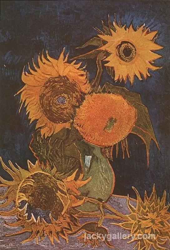 Still Life Vase with Five Sunflowers, Van Gogh painting