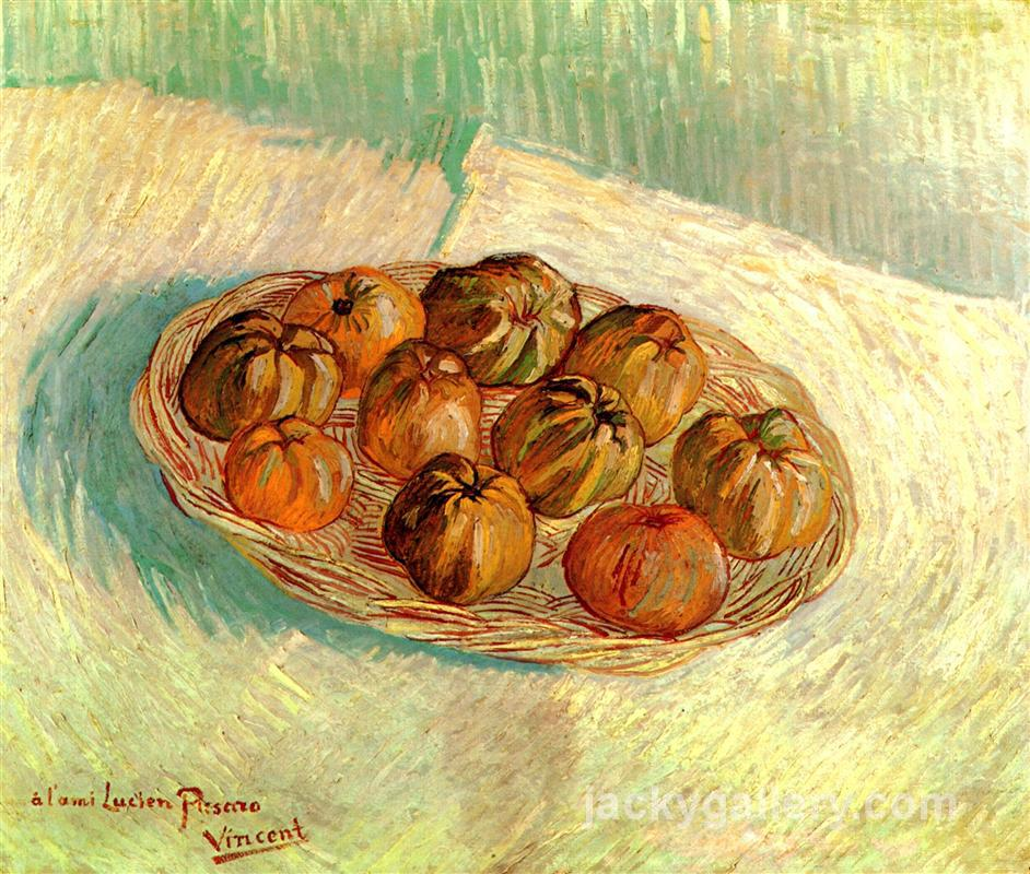 Still Life with Basket of Apples to Lucien Pissarro, Van Gogh painting
