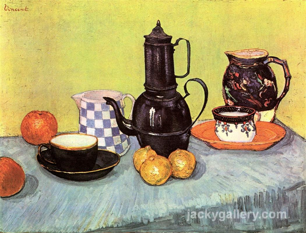 Still Life with Blue Enamel Coffeepot, Earthenware and Fruit, Van Gogh painting