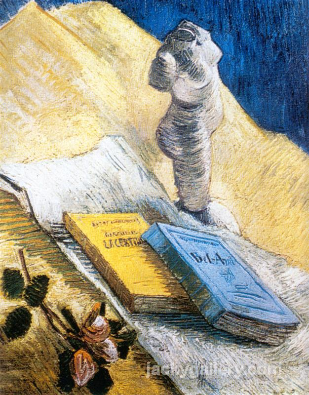Still Life with Plaster Statuette, a Rose and Two Novels, Van Gogh painting