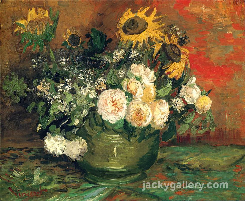 Still Life with Roses and Sunflowers, Van Gogh painting
