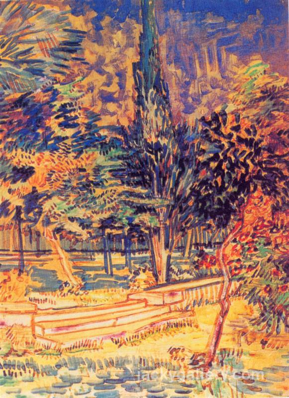 Stone Steps in the Garden of the Asylum, Van Gogh painting