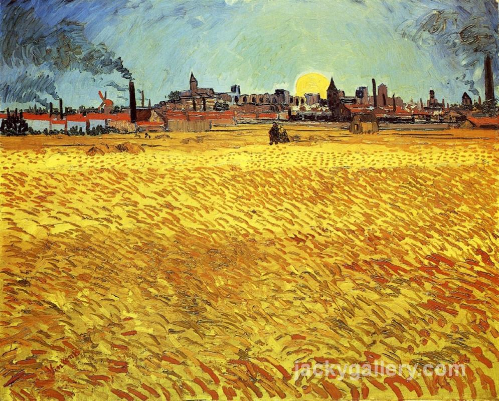 Summer Evening, Wheatfield with Setting sun, Van Gogh painting